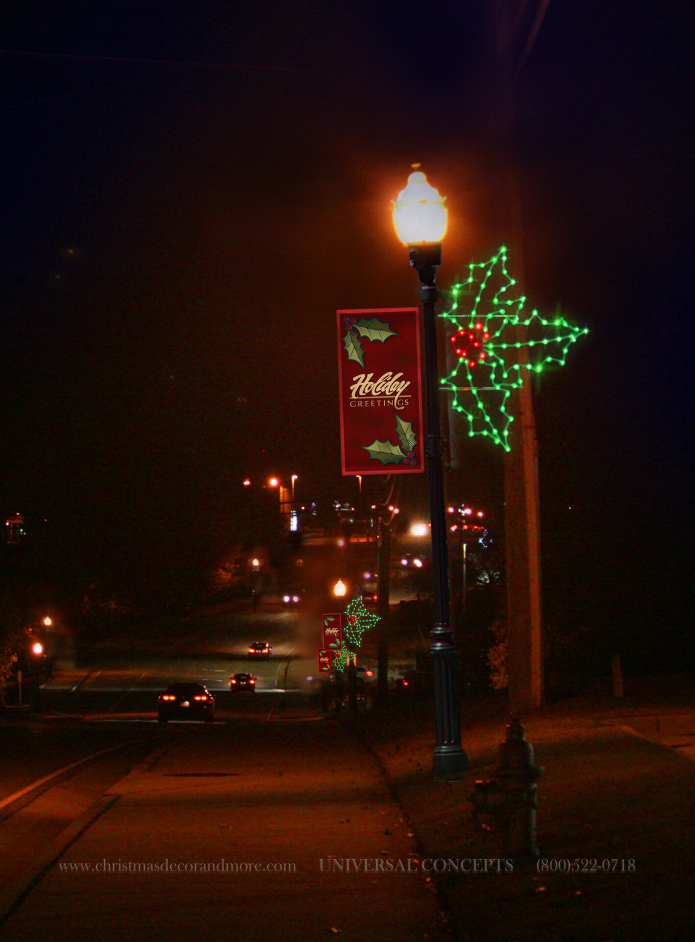 Our Holly Pole Decor with Banner Example