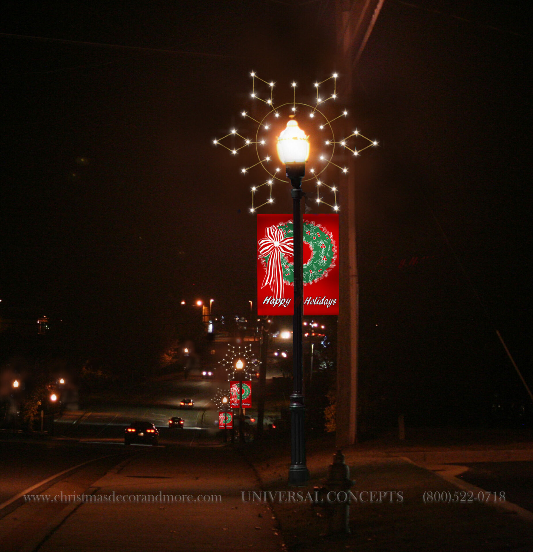 our LP-324 over the globe Pole Decor and Banners - Universal Concepts