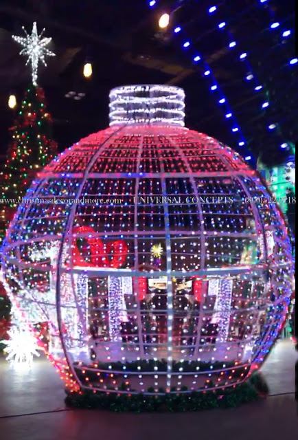 steel frame walk-through ornament is 19 feet tall and covered with programmable rgb lights